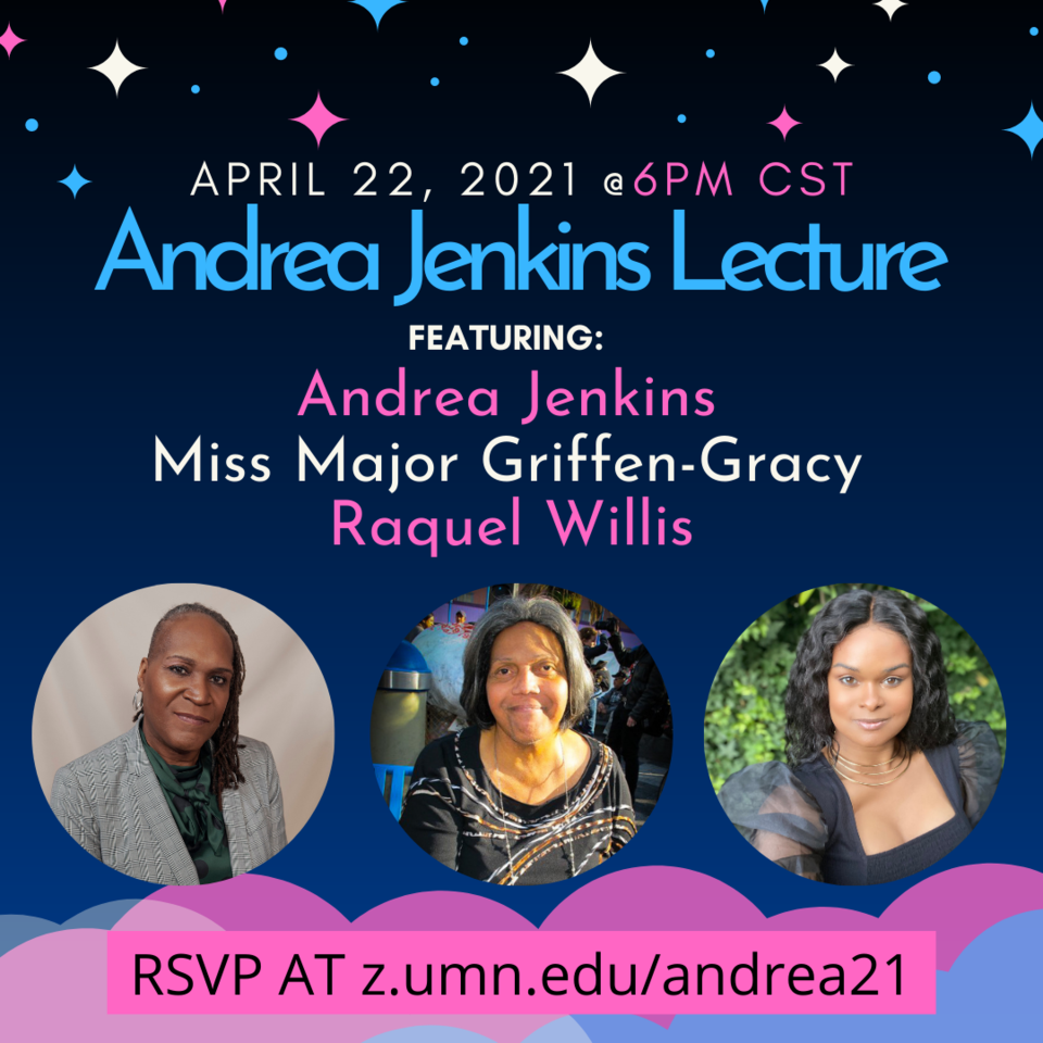 flyer image with photos of three women of color and event details
