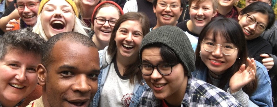 Photo of a group selfie from the Student Leadership Retreat 2016