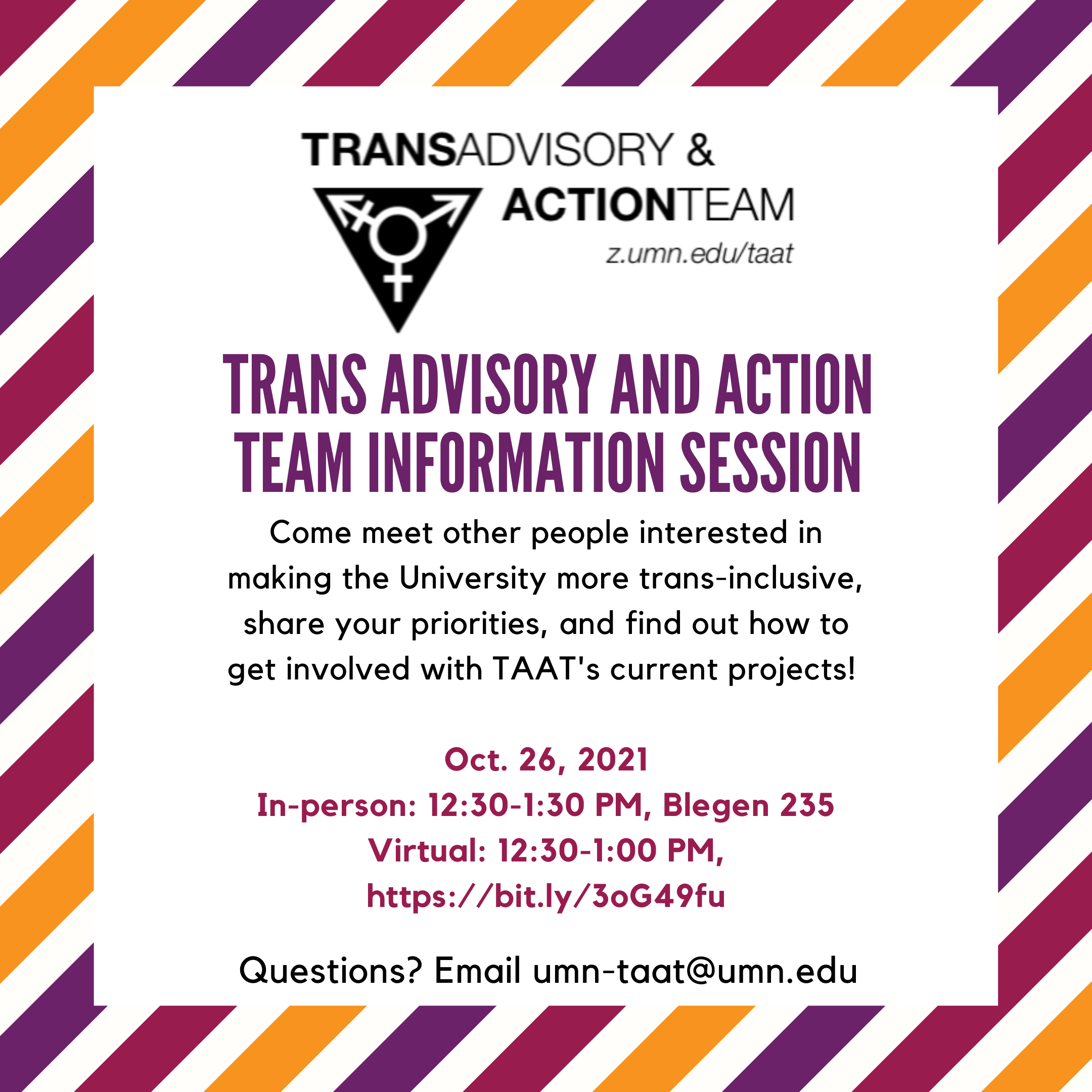 A photo with the TAAT logo on a white background with orange, maroon, and purple diagonal stripes. Text that reads Trans Advisory & Action Team